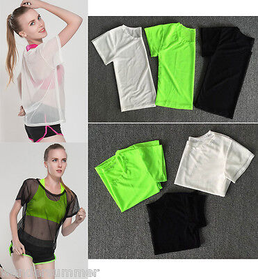 Women Yoga Sports Vests Mesh Cover T Shirts Gym Fitness Elastic Tee Running Tops