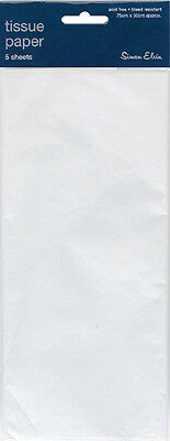 Pack Of 5 Plain White Tissue Paper Sheets 75cm x 50cm - Perfect Gift Wrap