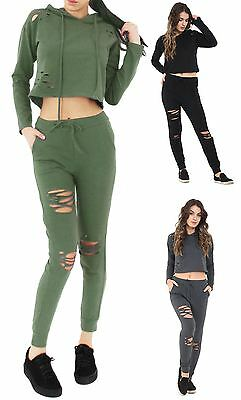 New Womens Distressed Ripped Hooded Top and Bottom Tracksuit Lounge Wear Set