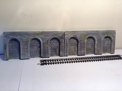 N GAUGE GRANITE STONE ARCADE ARCH WALL SECTION 2 Piece