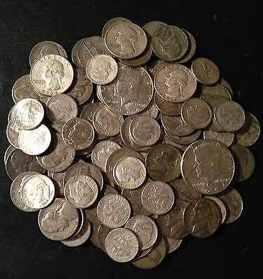 3  Troy Pound LB U.S. Circulated Mixed Silver Coins Lot No Junk Pre-1965 ONE 1