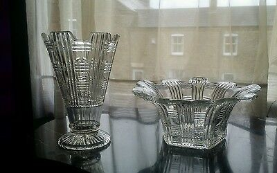 Stunning Art Deco Matching Pressed Glass Bowl And Vase Look