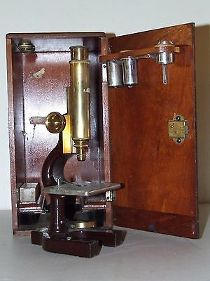 Antique 19th C. BAUSCH & LOMB Optical Co. Brass Microscope w/Original Wood Case