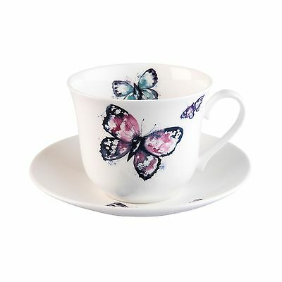 Roy Kirkham Modern Butterfly Bone China Jumbo Breakfast Cup & Saucer Gift Boxed