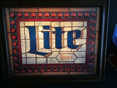 Vintage Miller Lite Stained Glass Lighted Beer Bar Sign