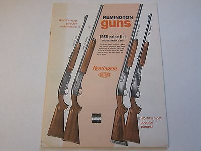 1968 REMINGTON FIREARMS Guns Price List Catalog LOTS More Listed