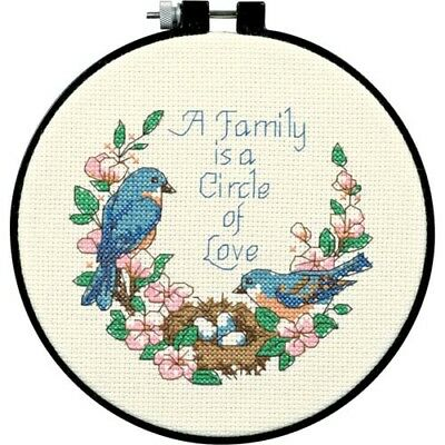 Dimensions D72900 | Family Love Beginners Counted Cross Stitch Mini-Kit | 15cm