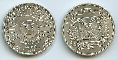 GS253 - Dominikanische Republik 1 Peso 1974 KM#35 Silber Central American Games