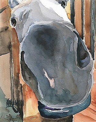 Gray Horse 11x14 signed art PRINT from painting RJK