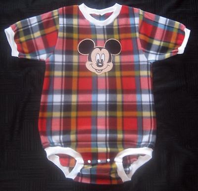 """Adult Baby  40"""" X 43""""  MICKEY MOUSE Plaid Fleece Onesuit / bodysuit, by LL"""