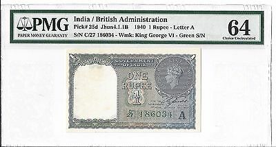 India 1940 1 Rupee, PMG Choice Uncirculated 64, Pick #25d