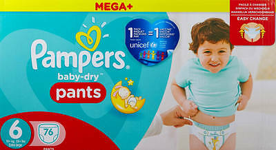 Pampers Mega Plus Baby Dry Pants Size 6 Monthly Saving Pack of 76