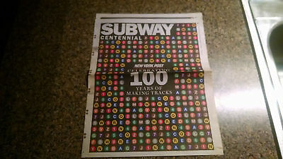 New York Subway NYC Transit Newspaper NY Post 100th Centennial Pullout Trains