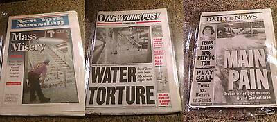 3 Newspapers New York Subway NYC Transit Daily Post Newsday Grand Central Flood