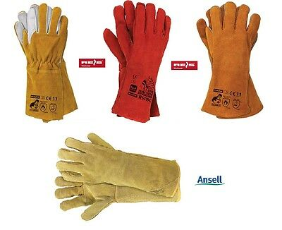 Welding Gloves , Red Heat Resistant , MIG , ARC , TIG , Fire Place Stove