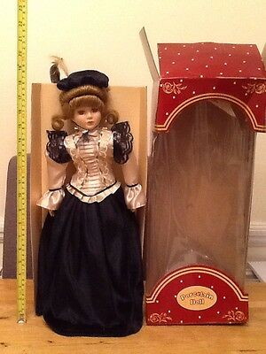 Porcelain Doll with Stand and Original Box