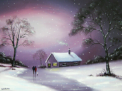 SARAH FEATHERSTONE ORIGINAL ART SIGNED CANVAS OIL PAINTING, Walk In Winter Snow