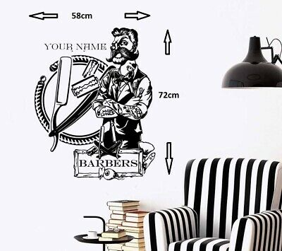 Barber Shop Tattoo Hipster Personalised Wall Art Sticker/Decal