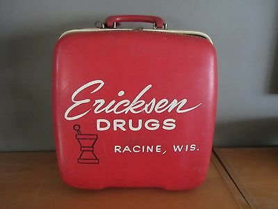 Vintage Drug Store Advertising Sign Stebco Case Bowling Bag Racine, Wi