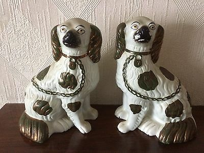Pair of vintage Staffordshire Pottery dogs