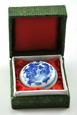 Vintage Chinese Porcelain QuinLong Dragon Seal Chop INK Red Paste Box Handpaint