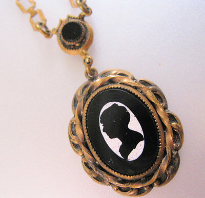 1800s Victorian Cameo Lavaliere Book Chain Necklace Pietra Dura Mourning Antique