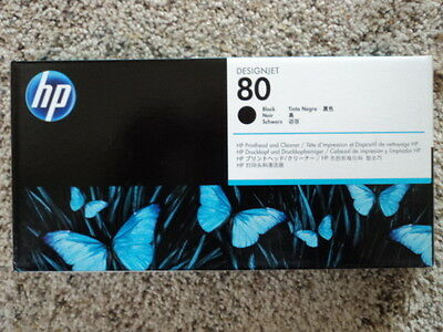 "SEALED HP 80 C4820A BLACK Printhead and Cleaner  ""AUG  2018"""