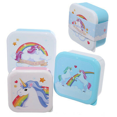 Set of 3 Lunch Boxes Enchanted Rainbows Unicorn Design Kids Children Food LBOX08