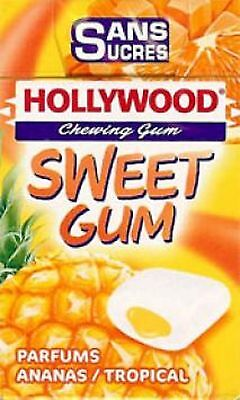 Lot 15 Boites De Chewing Gum Hollywood S/sucre  Dragee Sweet Gum Ananas/tropical