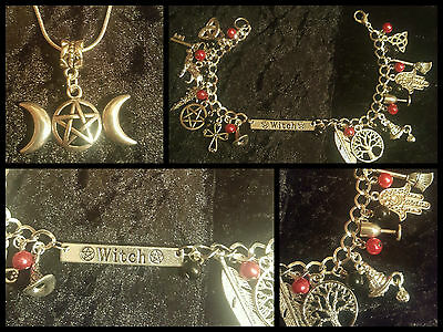 beautiful witch charm bracelet &  moon pentagram pendant necklace, wicca, pagan