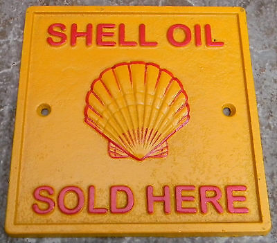 Superb Heavy Cast Iron Square Shell Oil Sold Here Advertising Sign