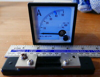 Analogue DC 50 Amp Panel Meter and 50A 75mV shunt
