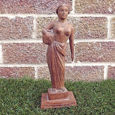Wooden Carved Ancient Greek / Roman (?)  Woman Carrying An Urn