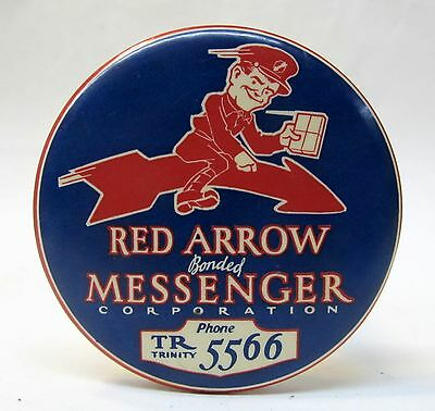 older RED ARROW MESSENGER Corporation paperweight pocket mirror *
