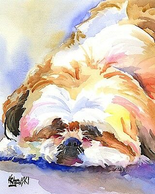 Shih Tzu Dog 11x14 signed art PRINT RJK painting
