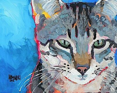 Tabby Cat 11x14 signed art PRINT from painting RJK