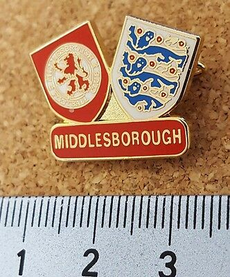Middlesbrough Twin crests MISSPELT Middlesborough football pin badge