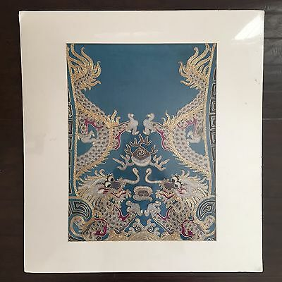 FINE Antique Chinese Silk Embroidery Double Dragon Gold Silver Scholar Art NR