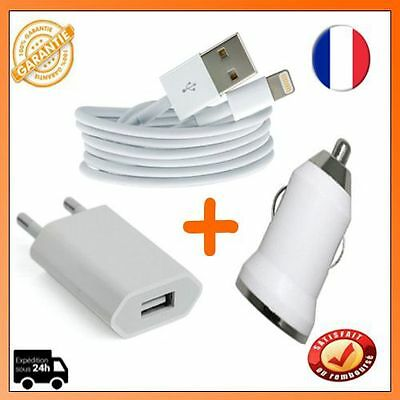 Lightning 8 PIN pour IPhone/IPad+ Adaptateur Mural Universel+ Chargeur Voiture