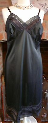 Vtg 1960S St Michael Ultra Femme Silky Black Nylon Full Slip Nightdress Sz14
