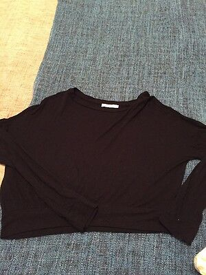 Zara Black Top By Trafaluc Range Long Sleeve Light Weight Woman's Size Small