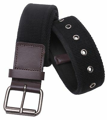 Rothco Vintage Black Single Prong Belt w/ Brown Leather Accents