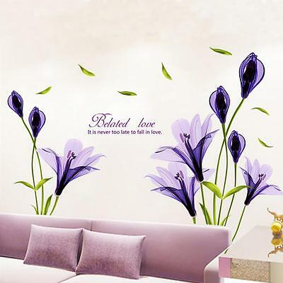 Removable purple lily flower Home living room Mural Decal DIY Wall Stickers   3#