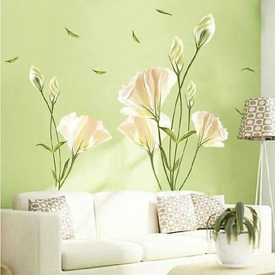 Removable large lily flower Home living room Mural Art Decal Wall Stickers    3#