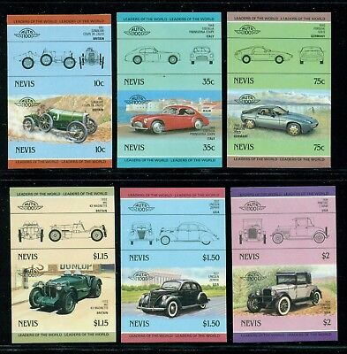 Nevis Michel 314-325 IMPERF Pairs MNH Automobiles Issued 10/4/85 Rare