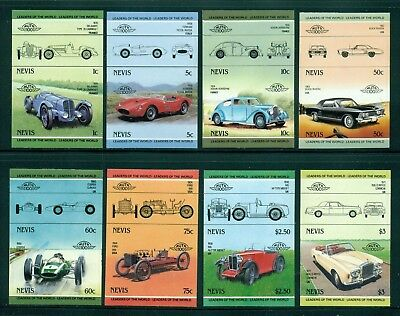Nevis Michel 232-247 IMPERF Pairs MNH Automobiles Issued 2/20/85 Rare
