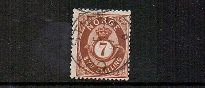 NORWAY 1871 7sk DEEP BROWN SG46 FINE USED CAT £75