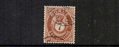 NORWAY 1873 7sk BROWN SG45 USED ( CREASE ) CAT £75