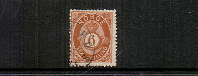 NORWAY 1875 6sk BROWN SG44 FINE USED CAT £75