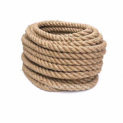 5m of 40 mm Thick Jute Hessian Rope Twisted Cord Garden Decking Art Craft DIY
